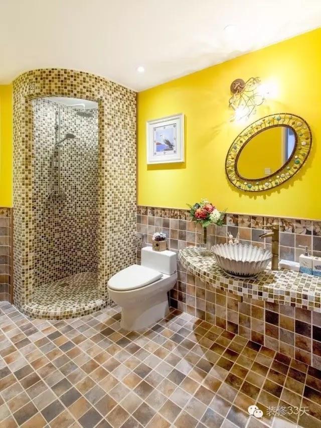圓弧形的淋浴就只有馬賽克能勝任,一般瓷磚貼不了弧度