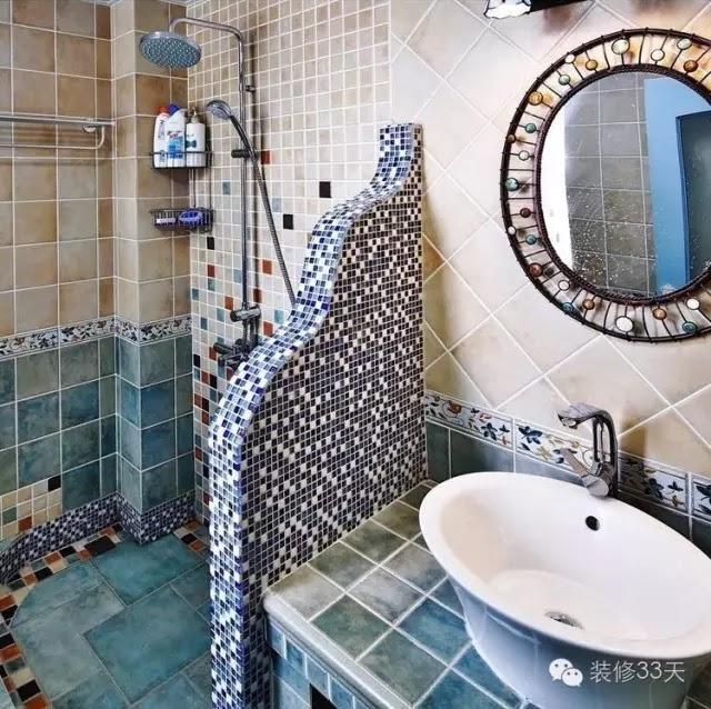 有一些自砌的淋浴隔斷,要做弧形也都是馬賽克